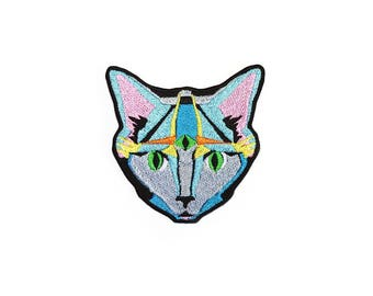 Illuminati Cat Patch Iron On Embroidered Patches Applique  Embroidery • Art Surreal Eye Space