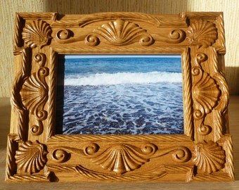 Wooden Carved Photo Frame Natural Oak Free Shipping Seashells Souvenir Birthday Mother's Day Gift