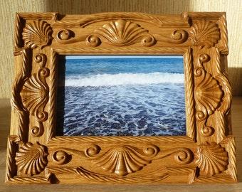 Carved Photo Frame Natural Wood Oak Free Shipping Seashells