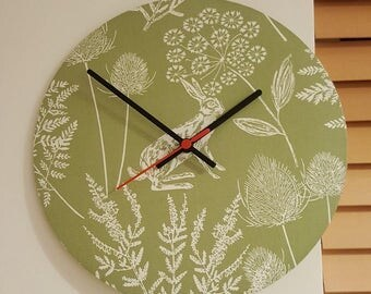 Green Hare Fabric Clock - 30cm diameter - handmade!
