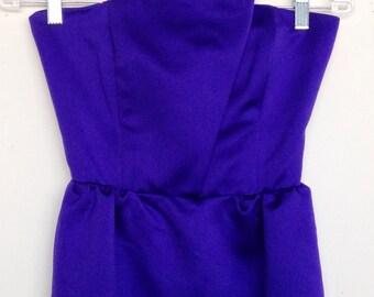 Vintage 80s deep violet geometric strapless dress