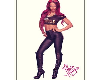 Sasha Banks  pre signed photo print poster - 12x8 inches (30cm x 20cm) - Superb quality -