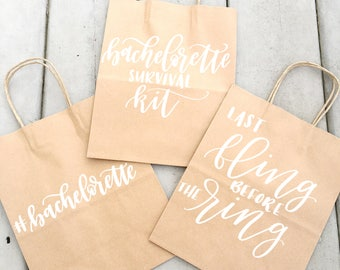 Large Personalized Kraft Gift Bags, Handlettered