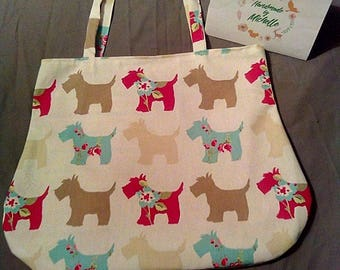 Cream scottie fully lined hand bag