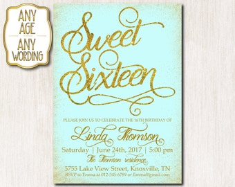 Sweet sixteen Invitation, Tiffany and gold glitter, Pink Mint Peach Sweet 16 Invitation, Girl birthday, Gold glitter ANY AGE, COLOR - 1623
