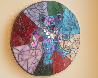 Grateful Dead Wall Art Stained Glass Mosaic Colorful Dancing Bear Jerry
