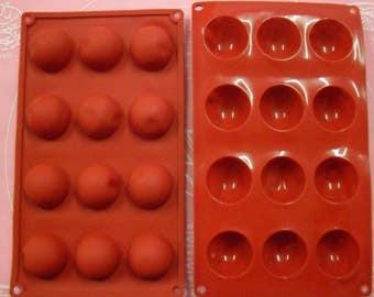 Mould soft silicone 12 petit fours / half SPHERE 28 X 17 CM