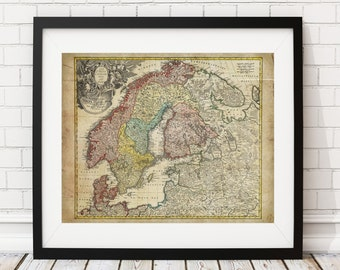 Scandinavia Map Print, Vintage Map Art, Antique Map, Wall Art, History Gift, Finland, Norway, Sweden, Denmark, Old Maps, Cartography Gift