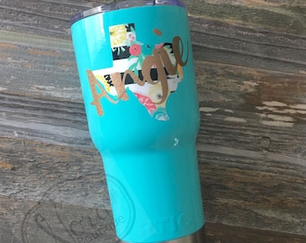 Personalized Texas RTIC 30oz Tumbler, Tiffany Blue, Personalized Texas Decal