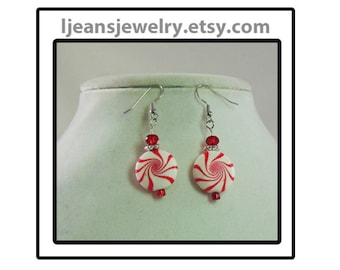 Red and White Christmas Peppermint Candy Polymer Clay Bead Earrings