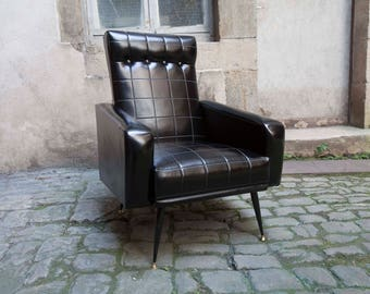 Armchair 60s vintage black leatherette reconditioned