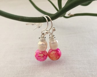 Pink Glass and Pearl Earrings