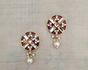 Indian Maroon Jaipur Mirror Button, Diamante Pearls Decorative Bead Rajasthani Traditional Handmade Jewellery Charm 2.5cm D Price for 2 pcs