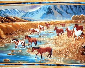 "Horse Panel- SUNDANCE fabric line Mountain Horse- panel approx. 24"" x 42"" (#O182) -brown/golden/blues/stream/paint/mustang/wildlife/outdoor"