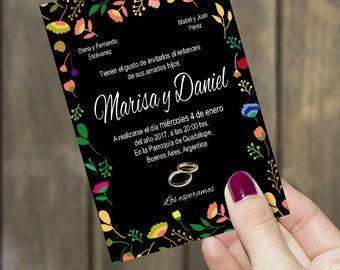 Wedding Invitation * floral invitation * black invitation * white invitation