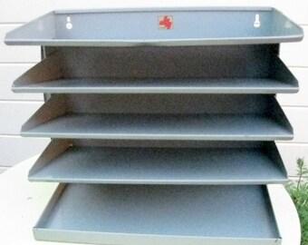 SALE!! Vintage industrial grey metal filing tray: labelled JH Veteran. Vintage office equipment