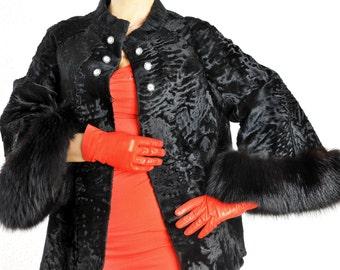 Designer Persian lamb fur jacket with Fox Fur Broadtail fur jacket with Fox PELLICCIA Astrakhan Volpe, Veste de fourrure thoai, chaqueta de la piel