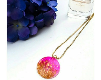 Pink and gold leaf resin pendant and necklace