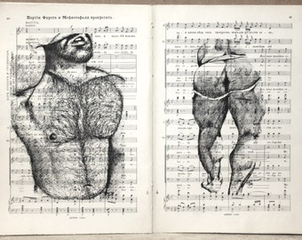 Gay erotic poster  / muscular hairy mens nude  / duouble pages printing antique music book decor interior picture ART erotic
