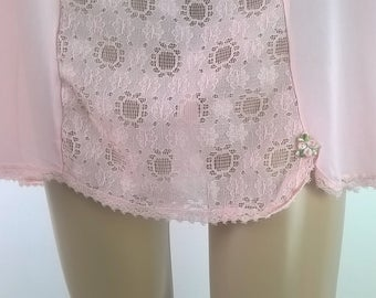 Vintage Slip Dress Deep Lace 1980's Semi Sheer Pink Slip Vintage Lingerie 1980's Nightie Nightgown Size 42