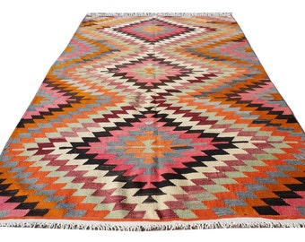 """Bohemian Rug Vintage Turkish Kilim Rug Handwoven rugs for your Home 65"""" x 91 inches -  165 x 232 cm"""