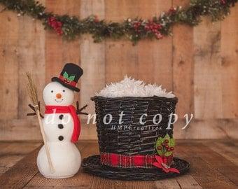 Christmas Newborn Digital Backdrop with Snowman