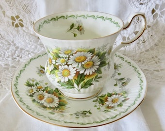 Rosina-Queen's Daisy Pattern Fine Bone China Teacup and Saucer Birthday Gift/Housewarming Gift