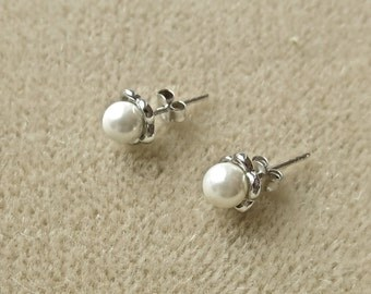 Faux Pearl and Sterling Silver Stud Earrings