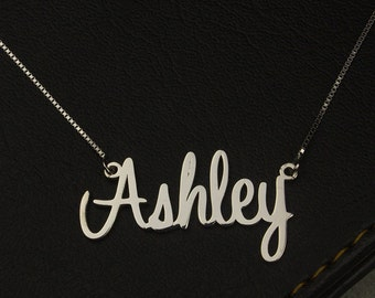 Name Necklace Silver, Personalized Name Necklace, Sterling Silver Necklace, Name on Necklace, Name Pendant, Font Necklace, Woman Jewelry