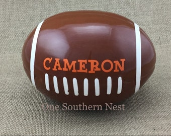 Personalized football sports Piggy Bank.  The perfect gift for any age football fan! Fill with coins or bills for a creative cash gift.