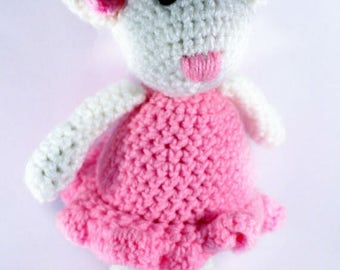 Crocheted Ballerina Mouse - Ballet - Gift - Childrens - Soft toy - Pink - Girls toy- Knitted - Amigurumi - Angelina Ballerina