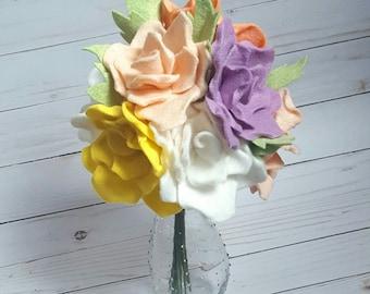 spring bouquet, spring flowers, felt rose bouquet, felt flower bouquet, wedding bouquet, spring roses bouquet, spring decor, nursery decor