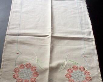 Vintage hand stitched vanity cloth, dresser cloth or table runner.