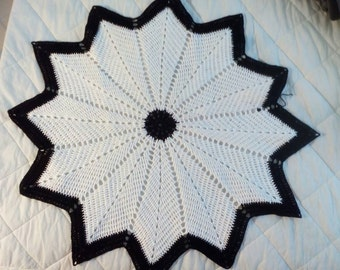 "25"" black and white crochet doily"