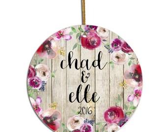 Anniversary Ornament, Custom Ornament, Personalized Ornament, Christmas Ornament, Newlywed Ornament, Just Married Ornament