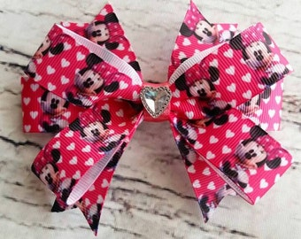 Minnie Mouse Hair Bow/Minnie Mouse Hair Clip/Minnie Mouse Barrette/Character Hair Bow/Toddler Hair Bow/Disney Hair Bow