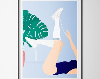 Poster / poster A3 - Vector Illustration - RISOGRAPHIE - beautiful GAMS - woman & body - woman, sexy - pastel