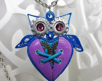 Blue and pink quilling steampunk polymer clay OWL necklace