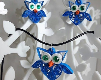 set necklace earrings cool blue in quilling