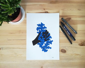 Original drawing, illustration, made with pen and felt-tip pen, black and blue