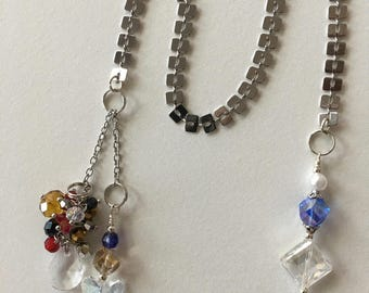 Handmade Silver Flat Chain Bookmarker in multi colored glass and arcylic beading.