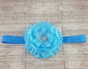Newborn headband, flower headband, blue headband, baby girl headbands, bows for babies, toddler bows, headbands, elastic headbands