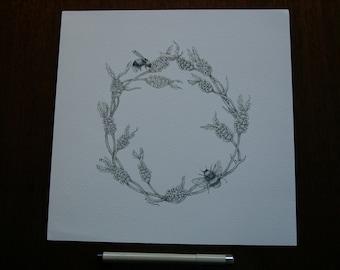 Bee and Lavender Circle print