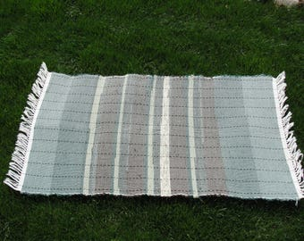"Hand Woven Rag Rug Green Tones Measures 23"" x45"" Item#4313"