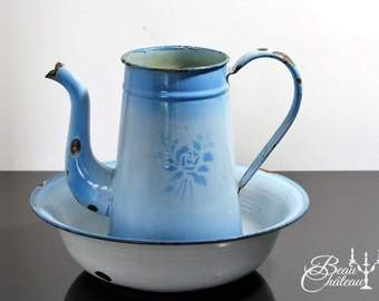 Charming Blue & White Vintage French Chippy Enamel Jug Water Pitcher and Basin/Bowl Rose Design on Jug. VERY SHABBY and RUSTY!!
