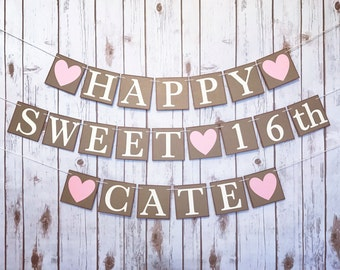 SWEET 16 BANNER, sweet 16 decoration, sweet 16 sign, personalized birthday banner, sixteenth birthday decor, sweet sixteen, sweet 16