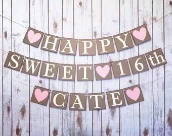 SWEET 16 BANNER, sweet 16 decoration, sweet 16 sign, personalized birthday banner, sixteenth birthday decor, sweet sixteen, sweet 16