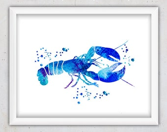 Watercolor Lobster Art Print, Nautical Wall Print, Lobster Nursery Watercolor Print, Sea Nautical Wall Decor, Beach Decor, Digital Art Print