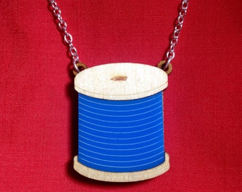 Cotton reel laser cut acrylic wood necklace /// art craft sewing embroidery novelty jewellery gift