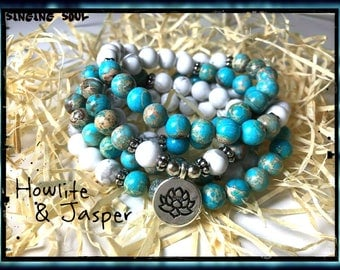 Howlite, Jasper Mala, 108 Beads, Mala, Wrap Bracelet  Necklace, Reiki, Chakra, Rosary, Prayer beads, Lotus Bracelet, meditation beads,japa,